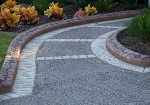 decorative concrete walkway and curbing